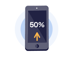 Up to 50% mobile conversion rate