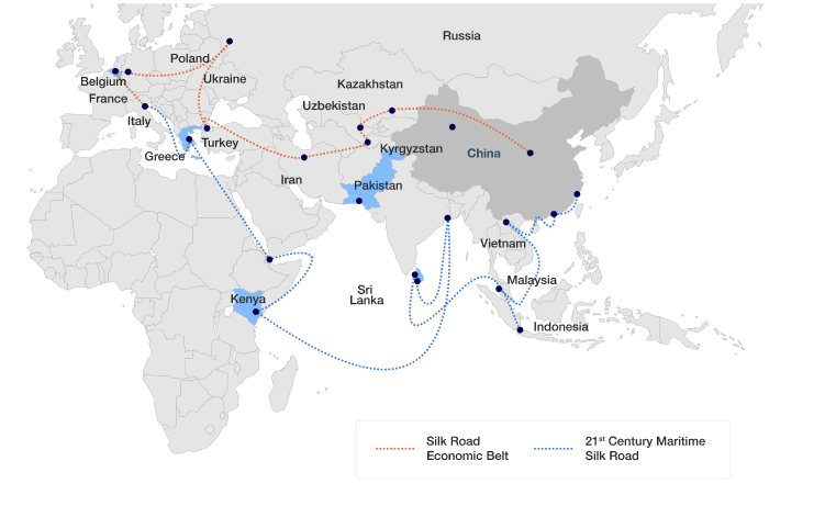 A map highlighting the trade routes by land and sea