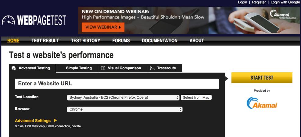 WebPagetest Website Performance and Optimization Test