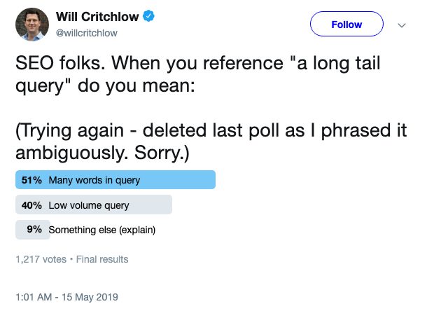 Will Critchlow on Twitter   SEO folks  When you reference  a long tail query  do you mean   Trying again   deleted last poll as I phrased it ambiguously  Sorry