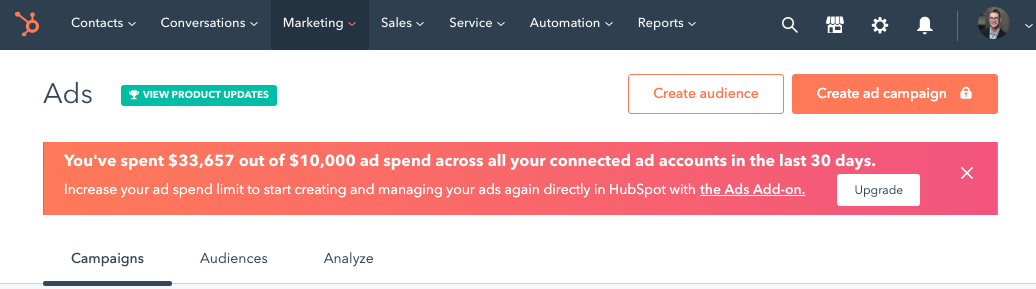hubspot ads addon message