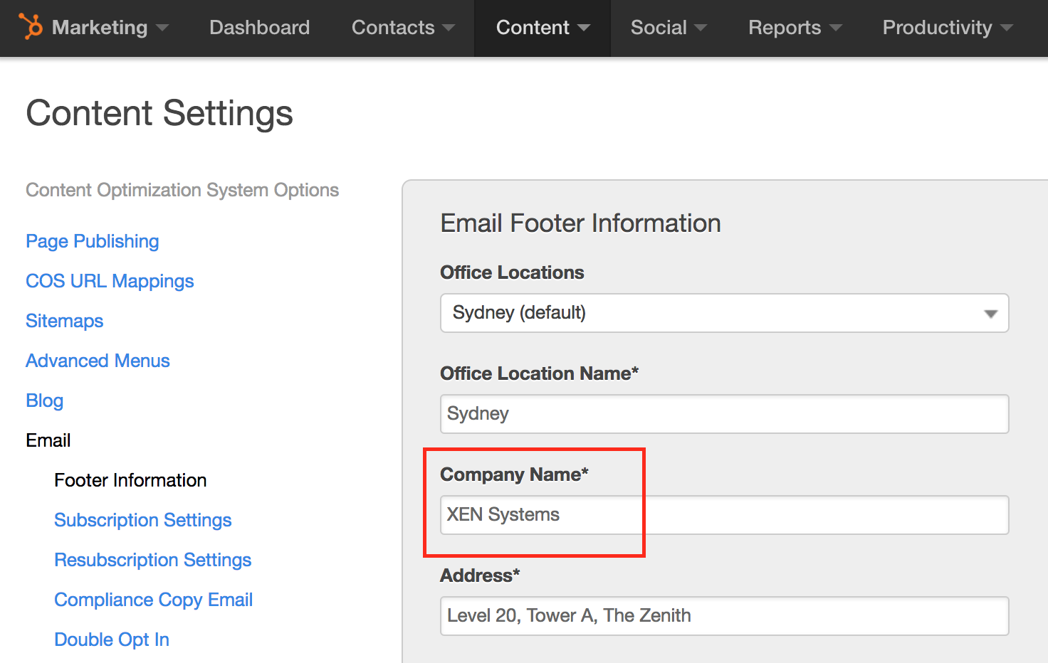 hubspot email settings company name