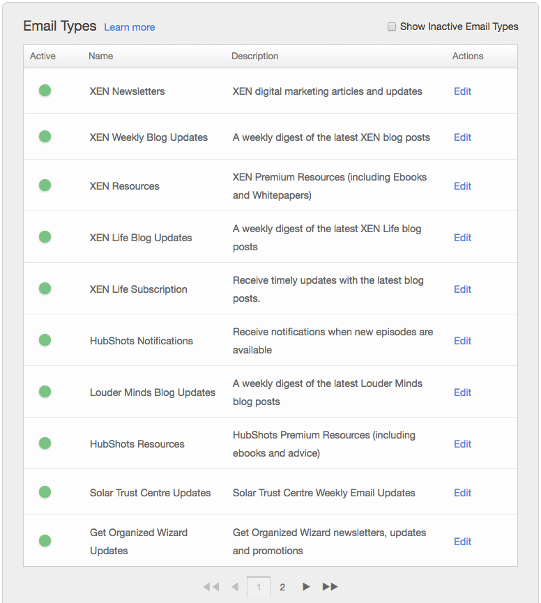 hubspot email types