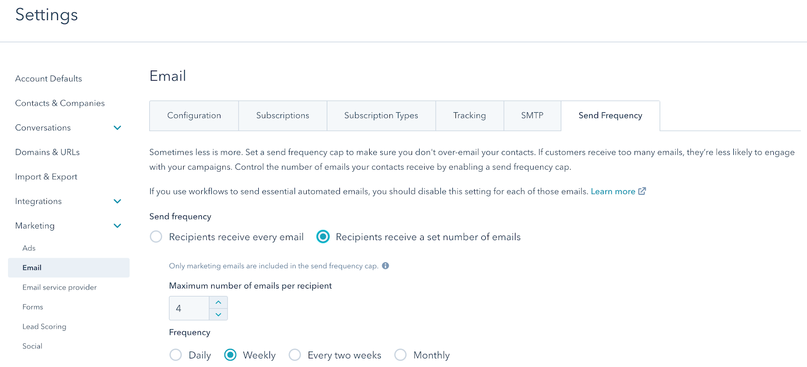 hubspot enterprise email send frequency