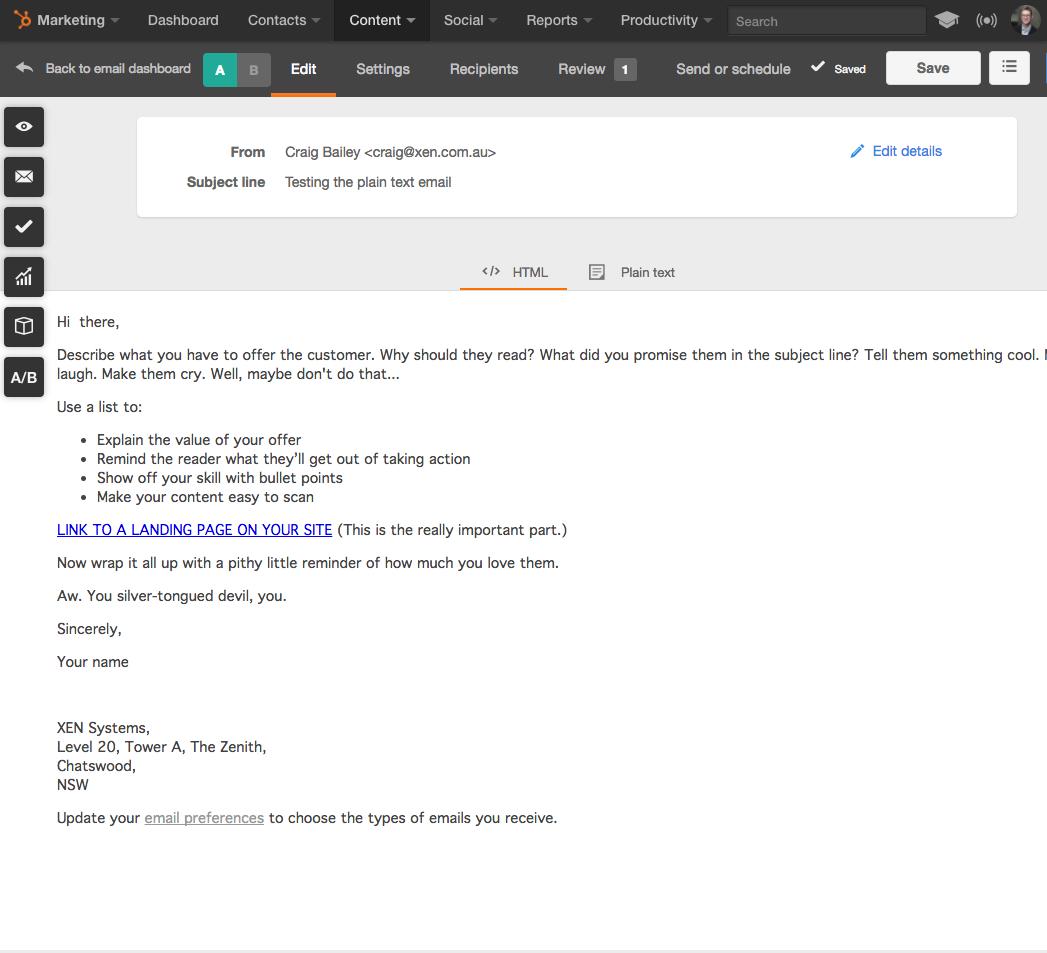 hubspot plain email