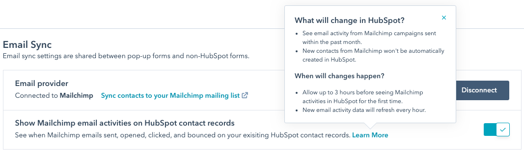 hubspot settings marketing email service provider