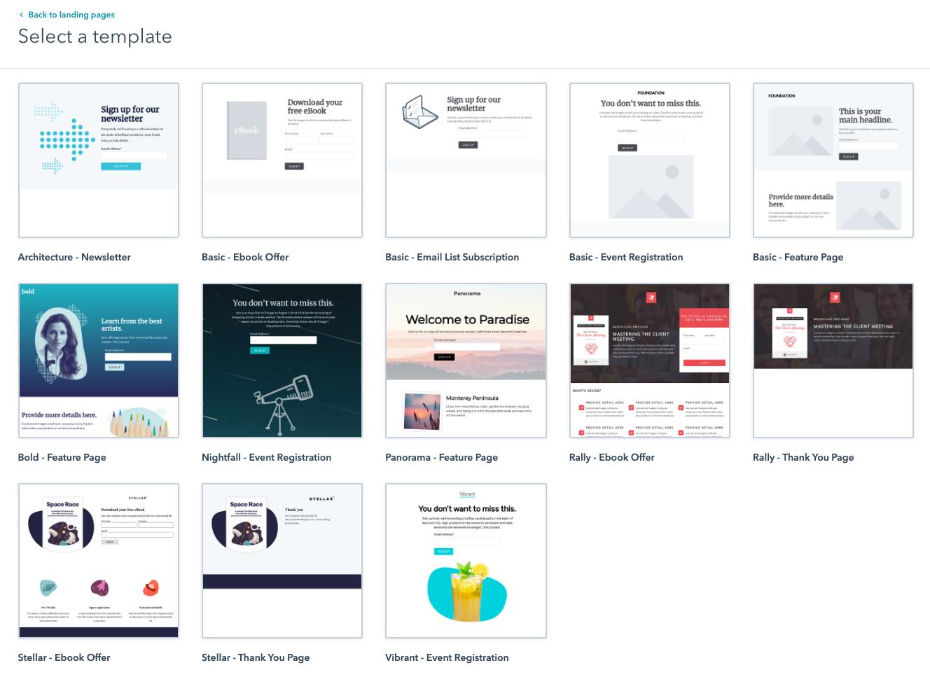 hubspot starter landing page templates