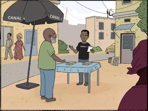 vendeur avec un stand dans la rue