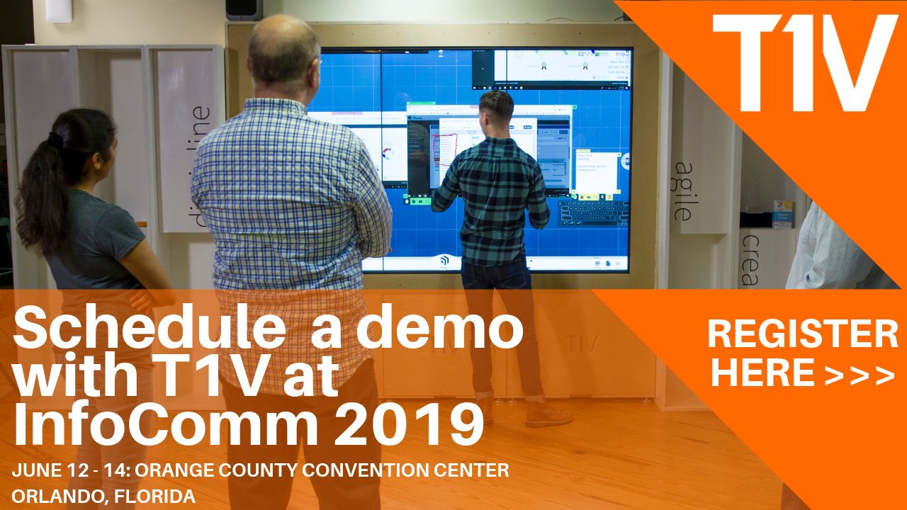 Schedule a demo with T1 at InfoComm 2019