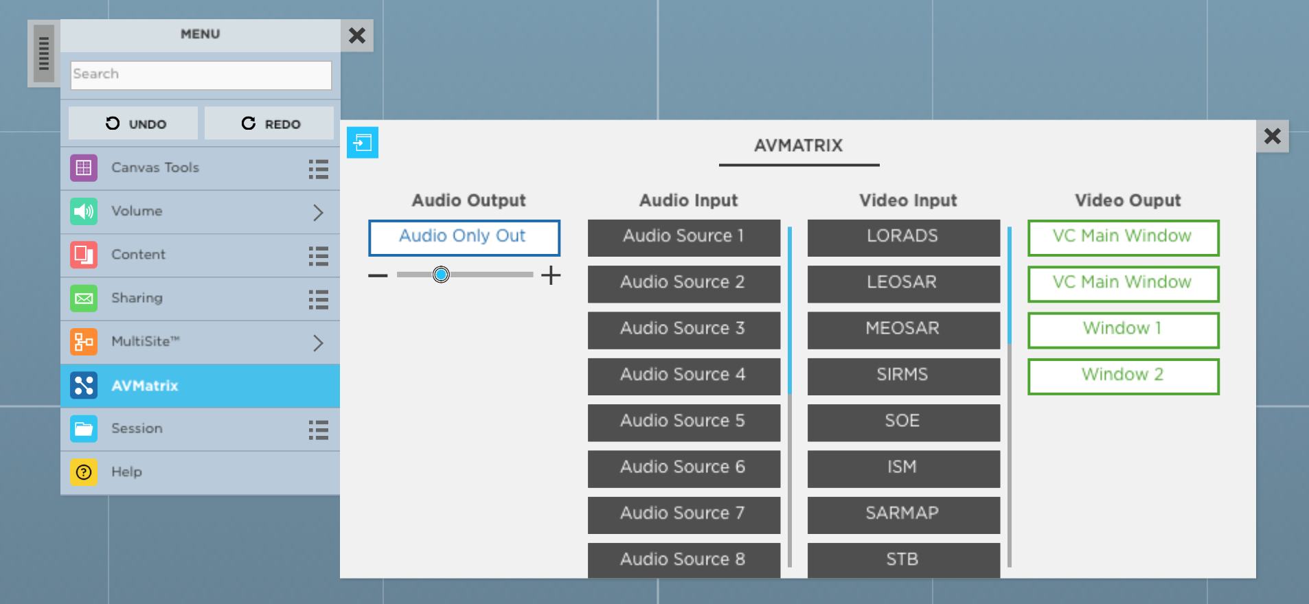 ThinkHub_4.5_Virtual_AV_Matrix_Switcher_Menu_control_panel