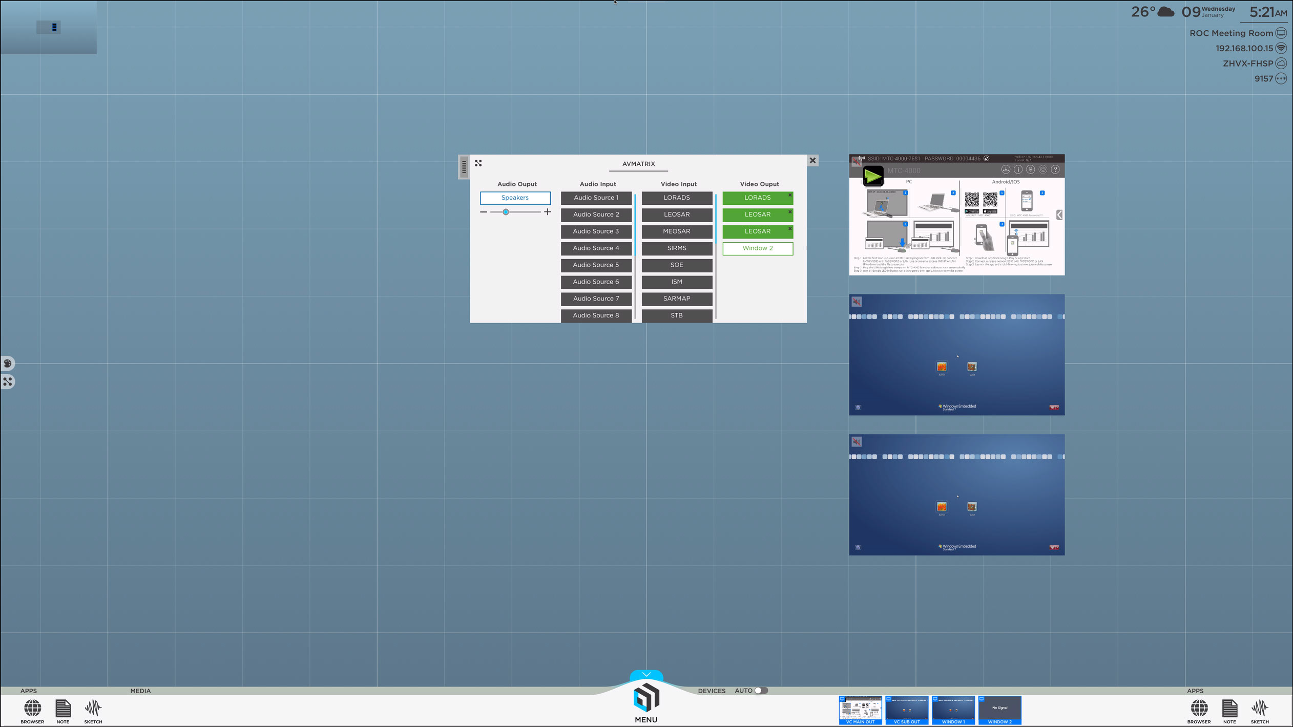 ThinkHub_4.5_Virtual_AV_Matrix_Switcher_control_panel_inputs_outputs