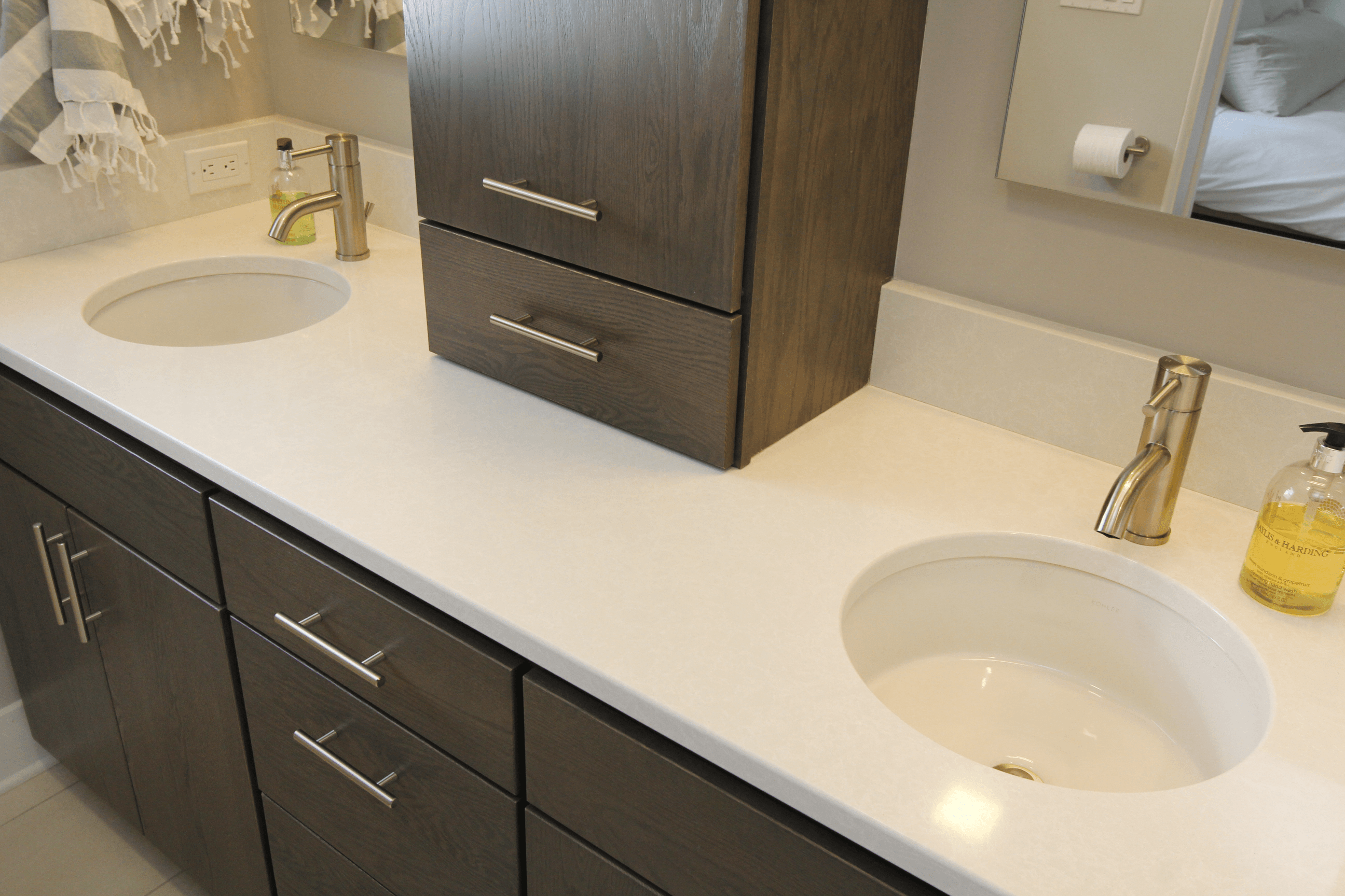 Quartz Countertop On Bathroom Vanity