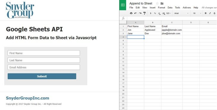 Google Sheets API - Publishing HTML Form Data to a Google Sheet
