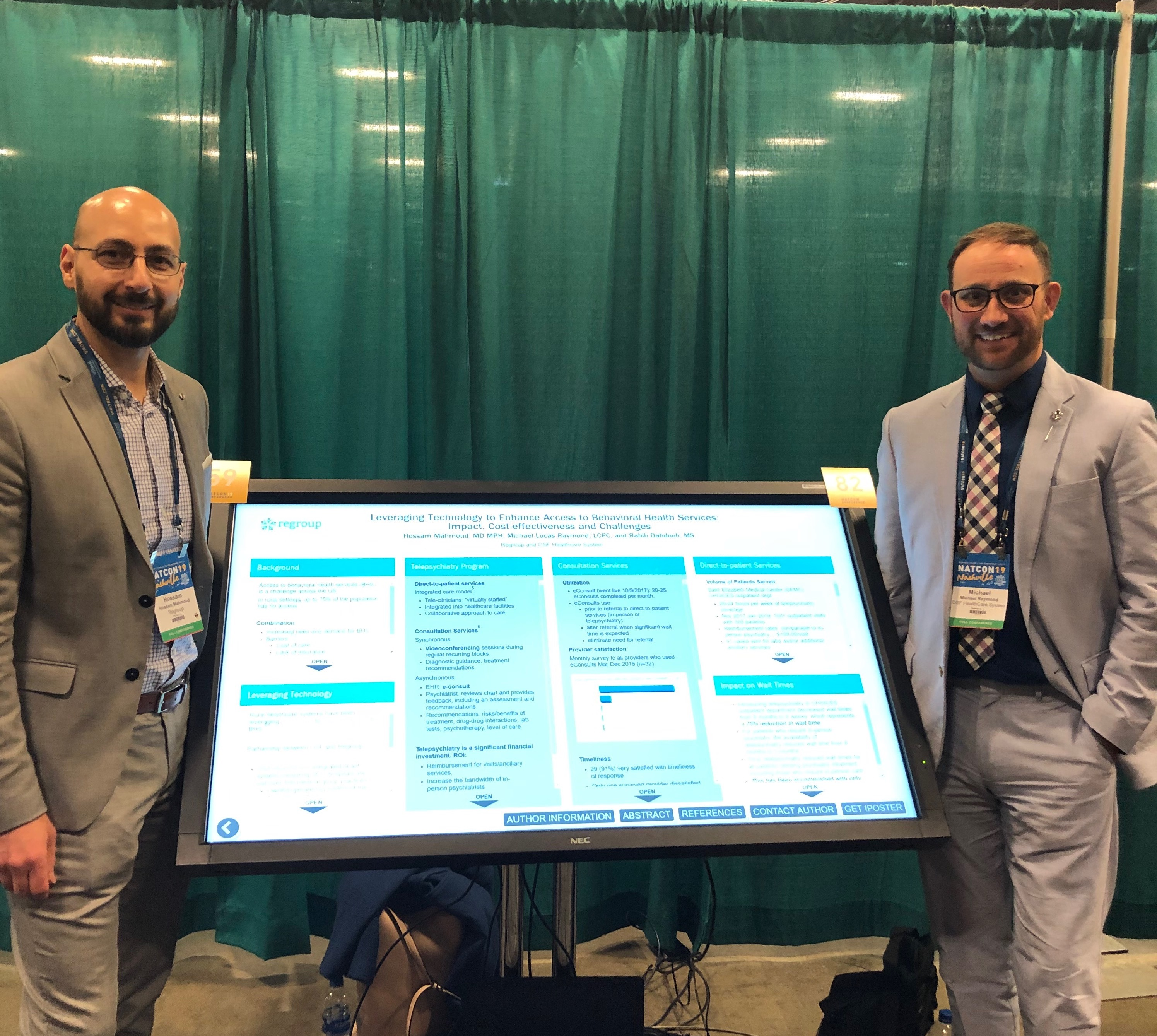 Luke Raymond of OSF Healthcare and Dr Hossam Mahmoud of Regroup Telehealth and Telepsychiatry at NatCon 19