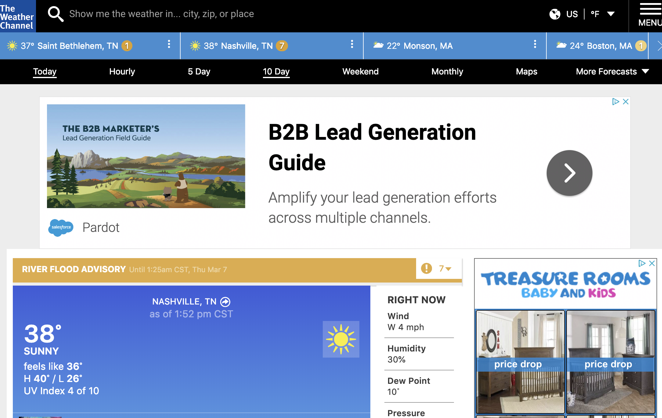 web page display ad example