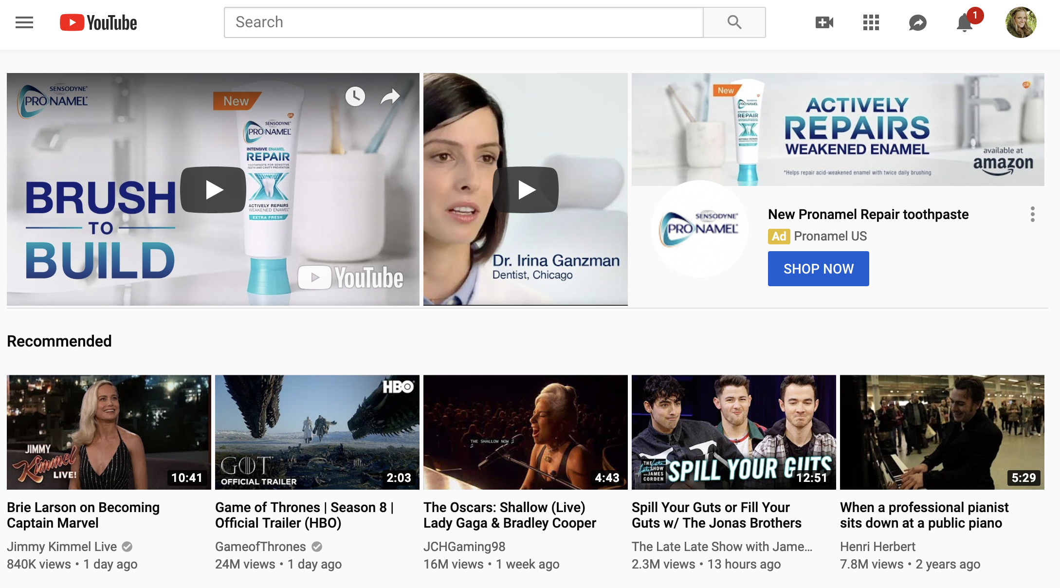 YouTube search ad