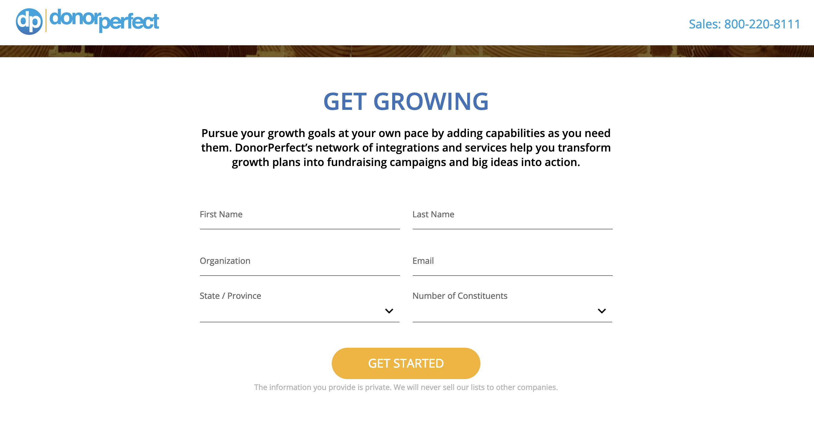 donorperfect landing page