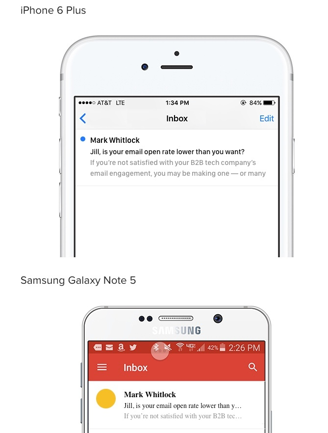Email Device Testing iPhone and Samsung