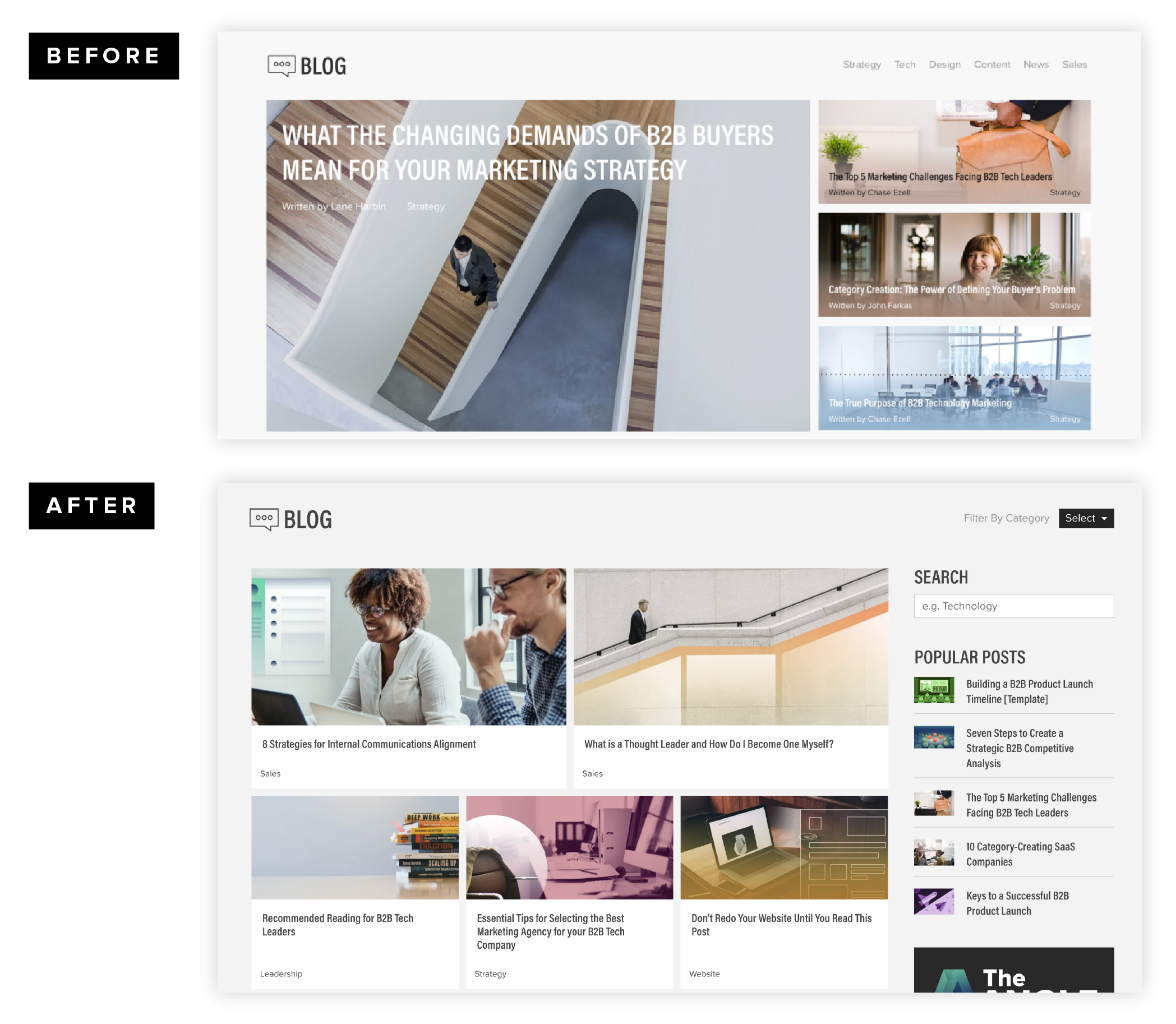 Website design overhaul before and after