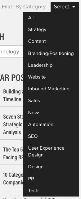 Blog filtering example