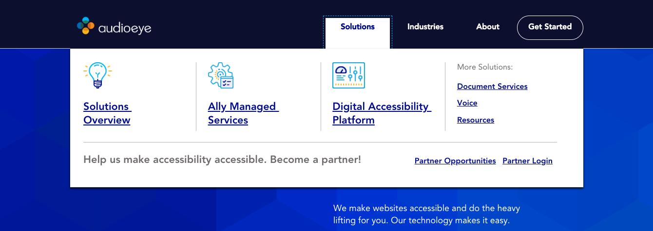 Website navigation accessibility