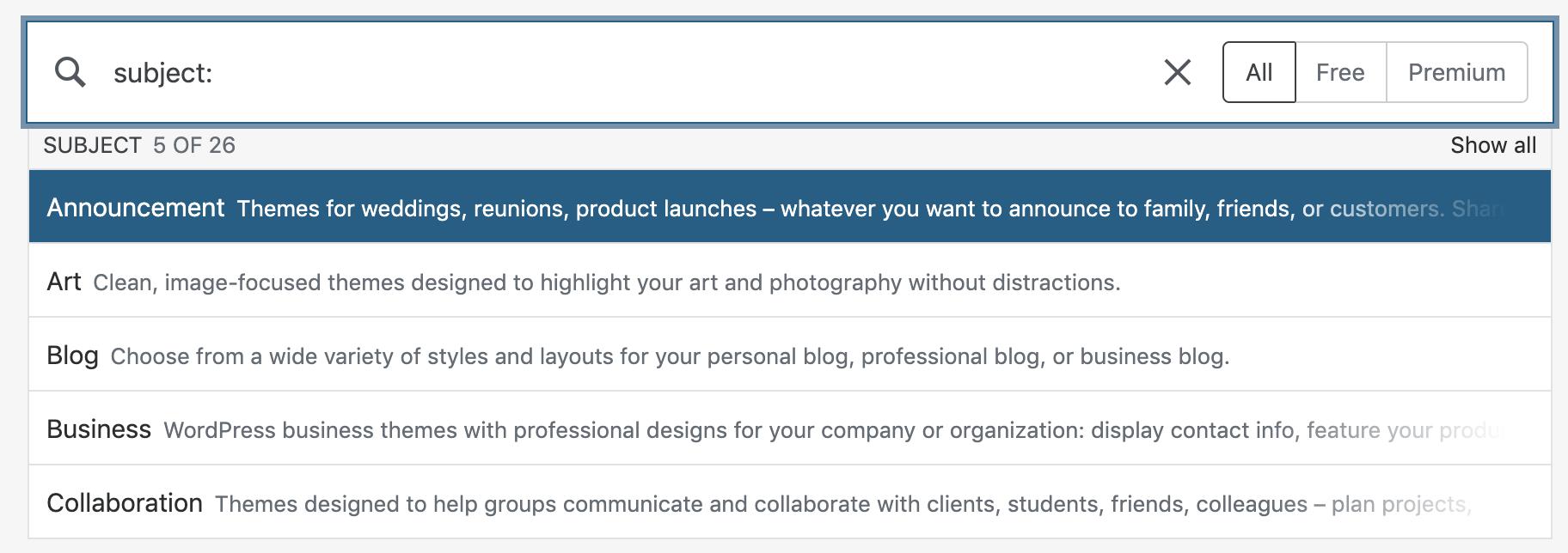 Wordpress-types