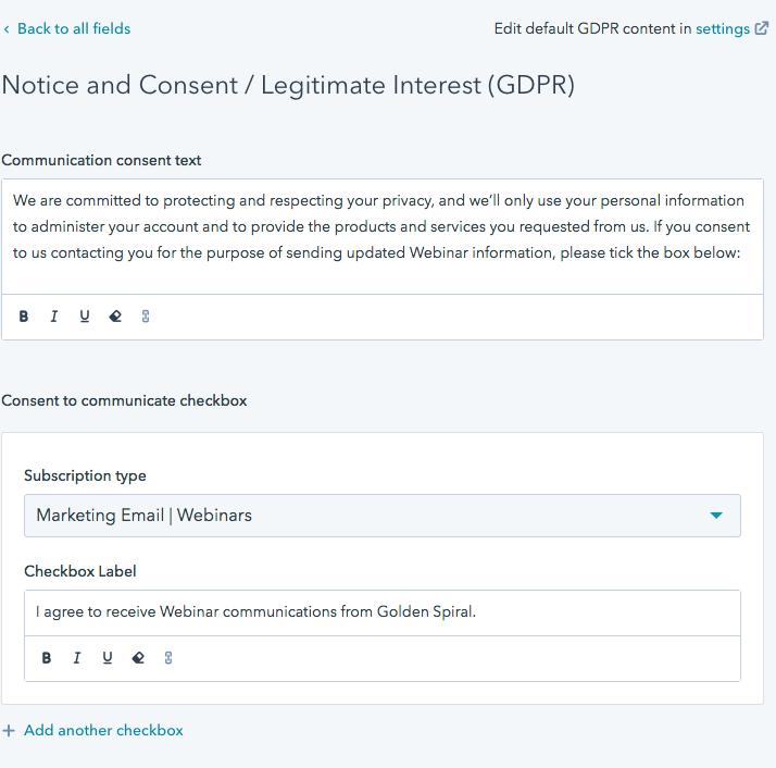 GS180717 - GDPR - Hubspot consent checkbox