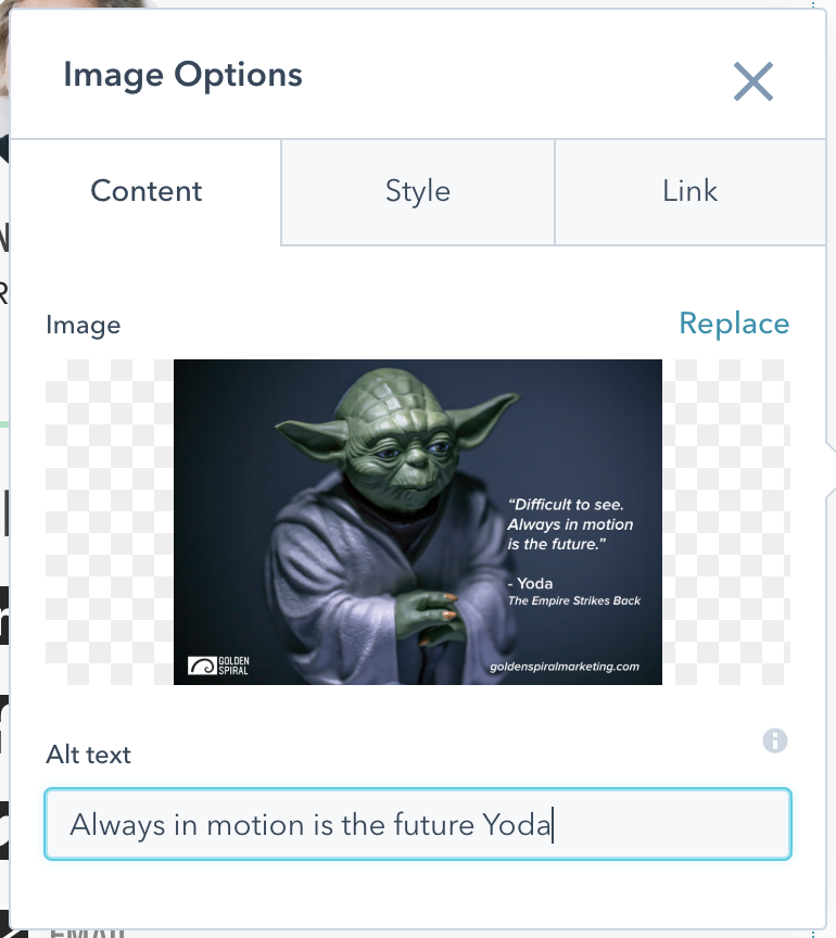 Yoda image used to demonstrate ALT text