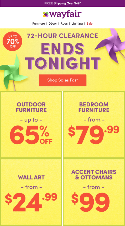 Wayfair email image for 72-hour clearance