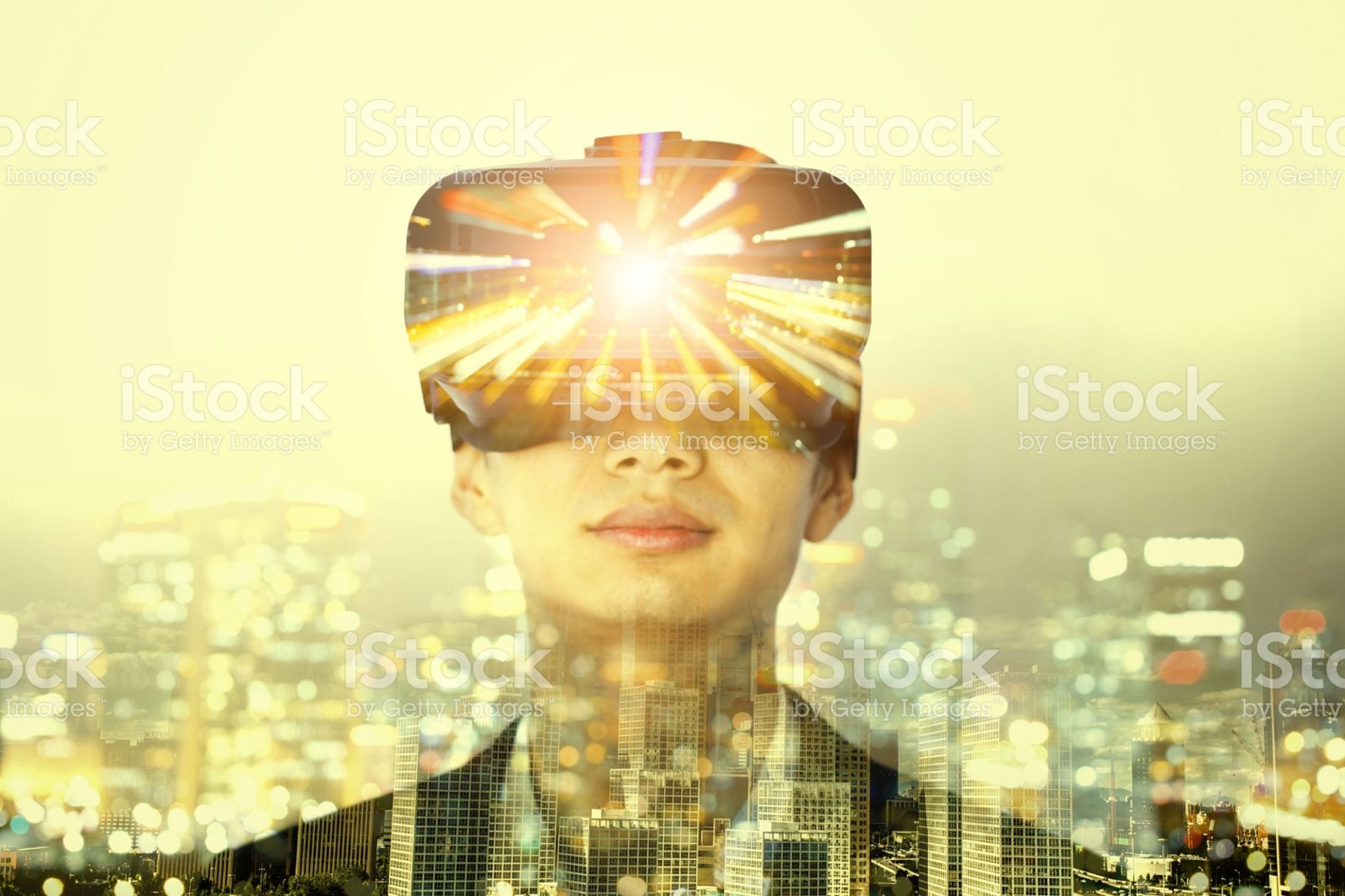 Person in VR headset overlaid with a cityscape