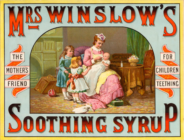 Mrs. Winslow's Soothing Syrup was a medicinal product formula compounded by Mrs. Charlotte N. Winslow and first marketed by her son-in-law Jeremiah Curtis and Benjamin A. Perkins in Bangor, Maine, USA in 1849.