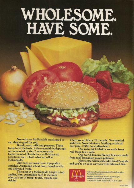This advertisement purports that McDonald's is a healthy choice for children.