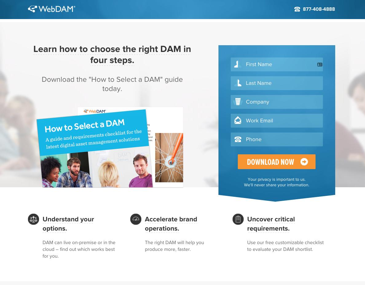 WebDAM Landing Page