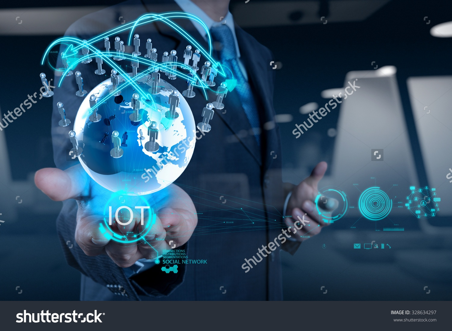 Business person holds Internet of Things