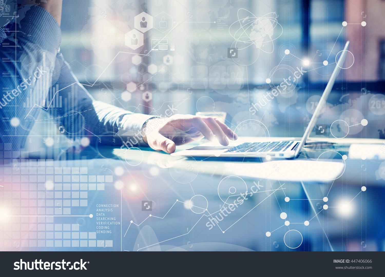 Business team working on analytics