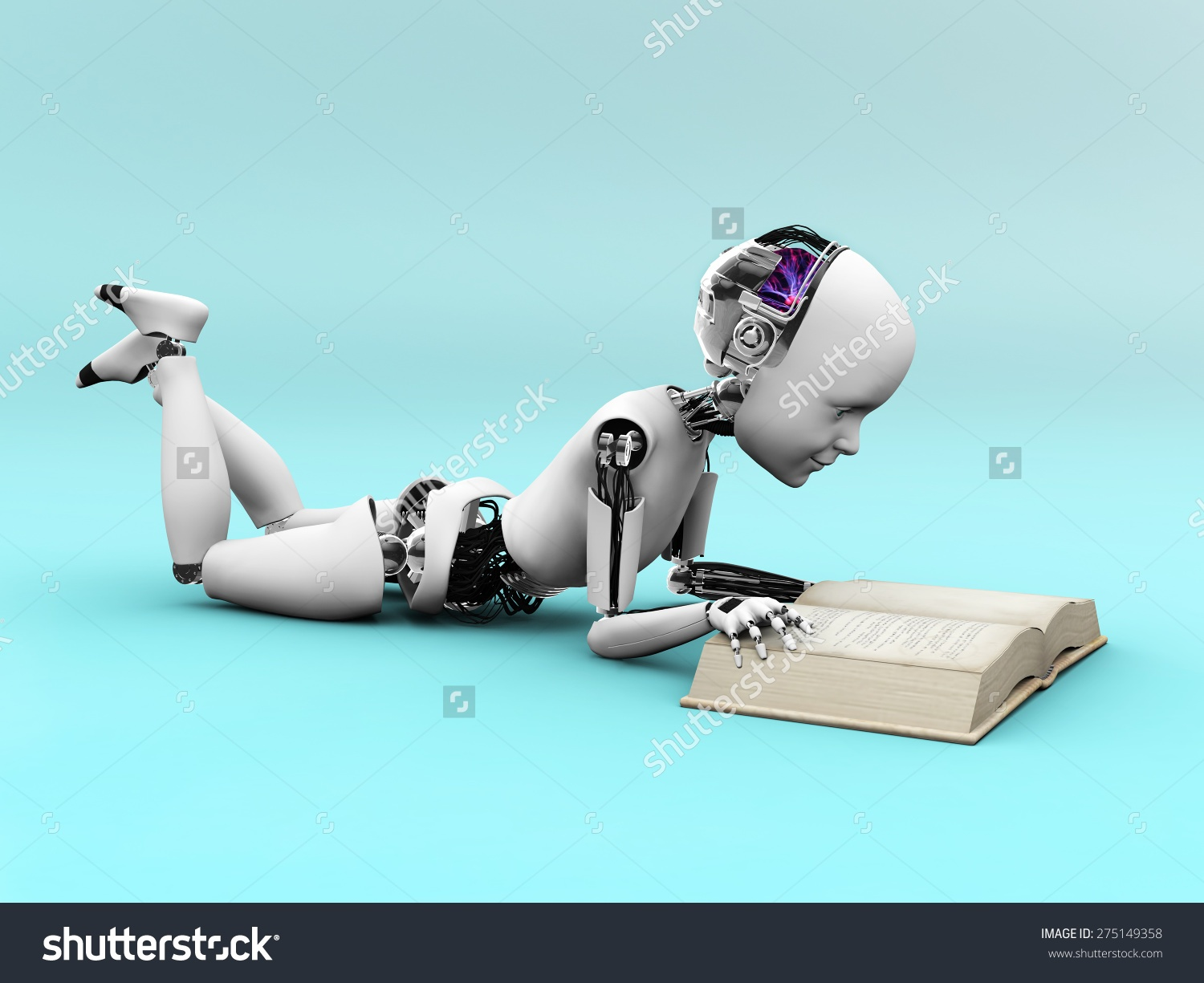 Robot child reading a book