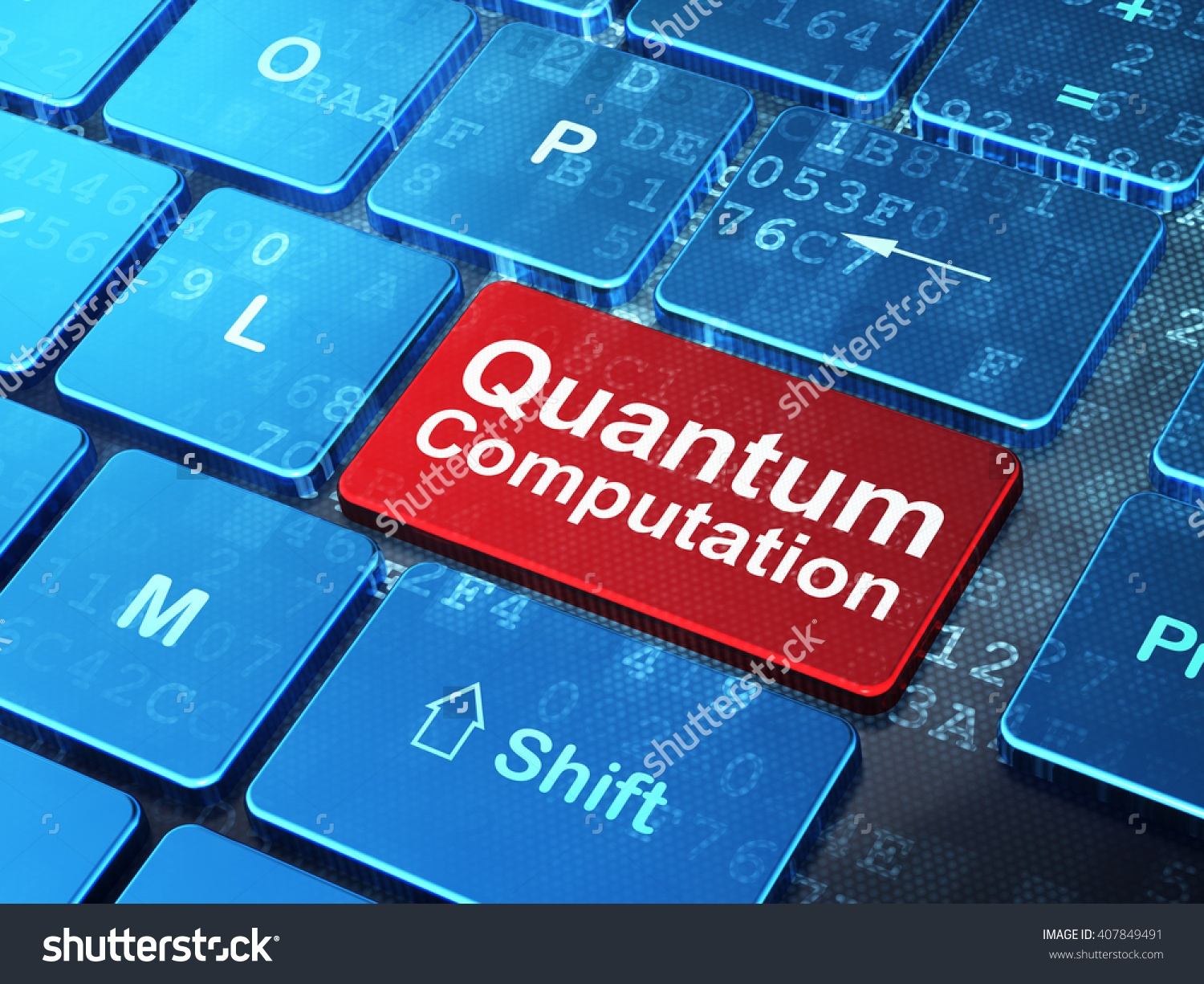 Keyboard with key that says quantum computing