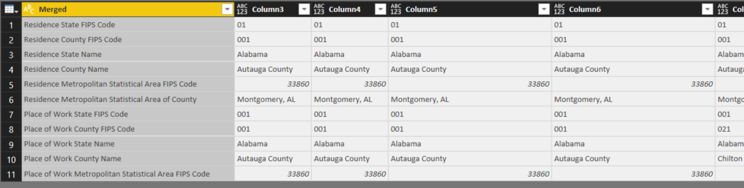 US Census data in Power BI Query Editor: Columns merged