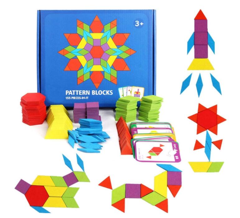 Montessori Geometric Wood Pattern Blocks