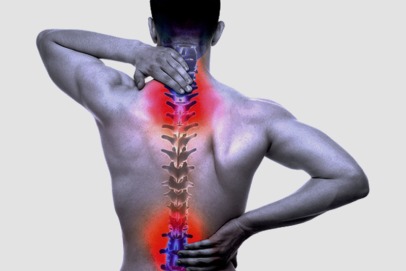 A person experiencing back pain