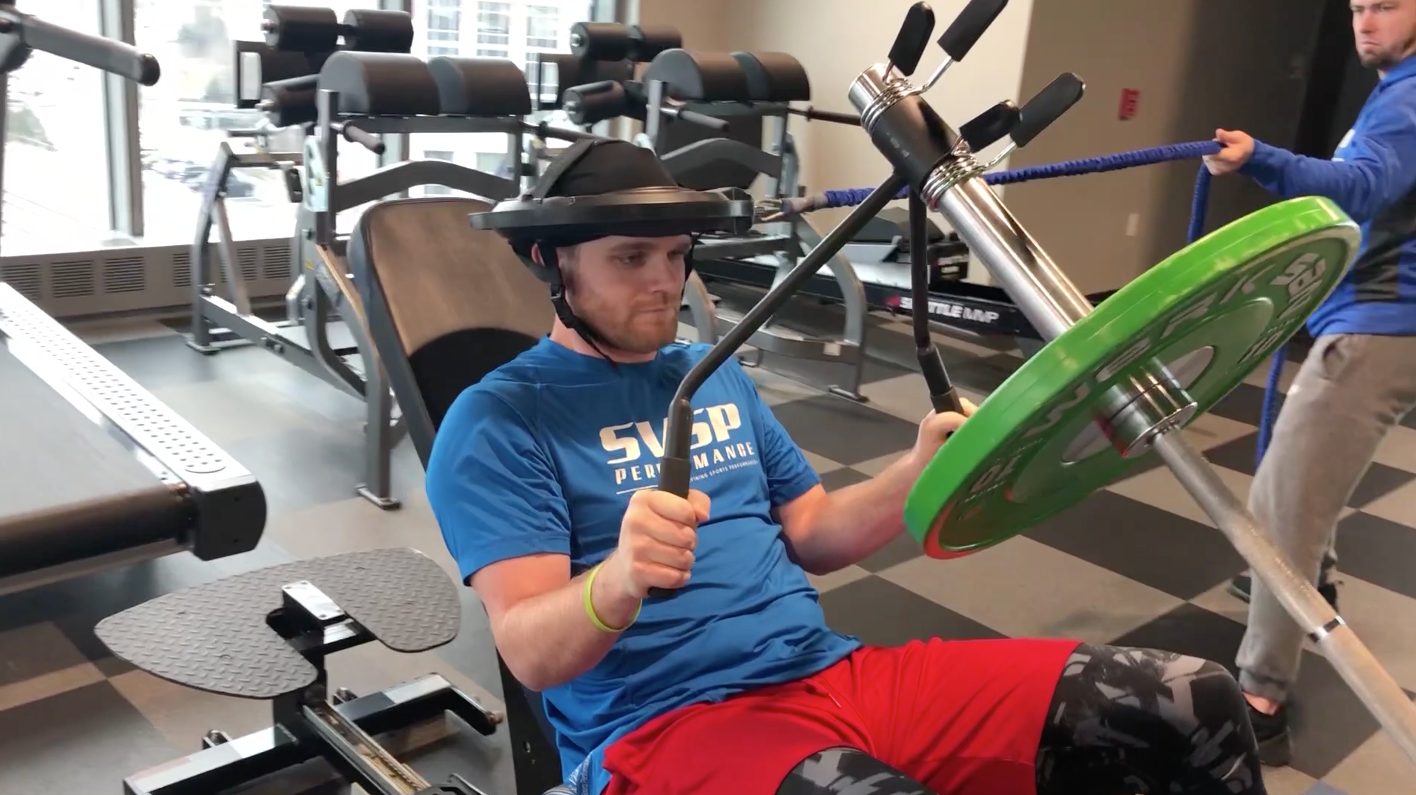 IndyCar driver Conor Daly training with Iron Neck at SVSP