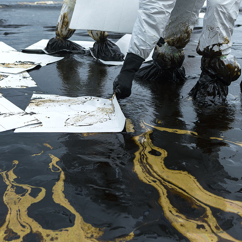 White spill sheets were designed to throw on top of an oil spill and throw away