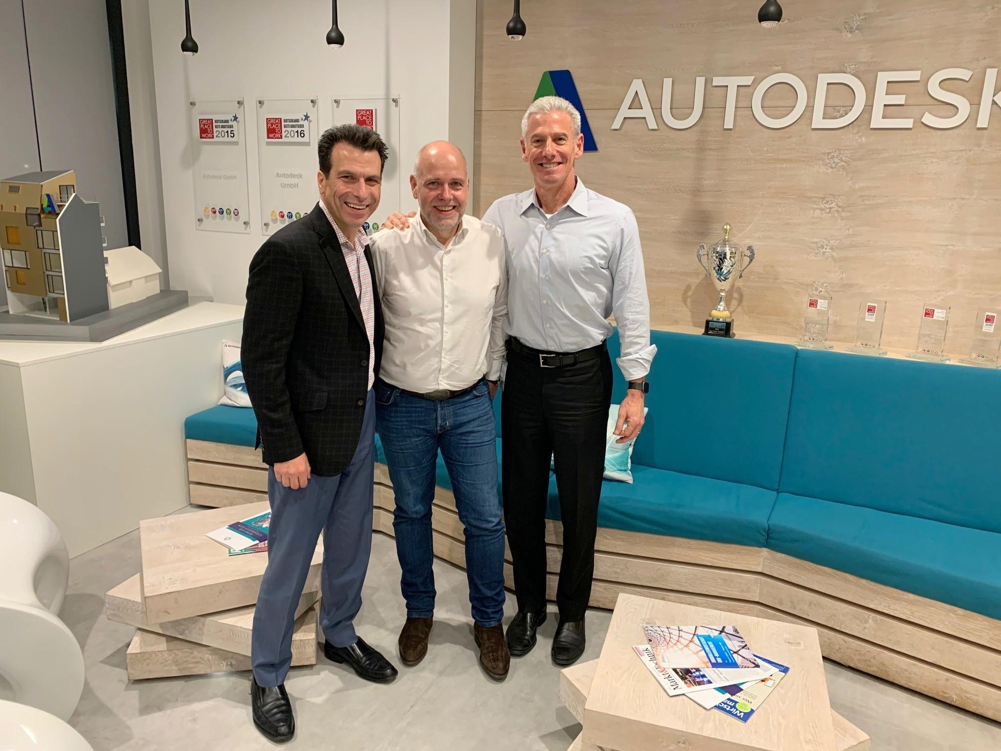 Andrew Anagnost, President and Chief Executive Officer Autodesk, Clemens Voegele, Geschäftsführer Cideon und Steve Blum, Senior Vice President Worldwide Field Operations, Autodesk.