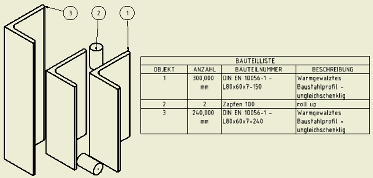 In der Standardstückliste von Inventor werden die Längen von gleichen Profilen zusammengerechnet und in der Spalte Anzahl ausgegeben