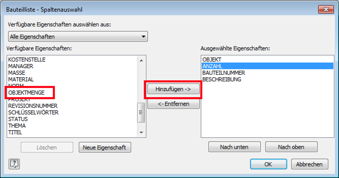 """Eigenschaften """"Objektmenge"""" und """"Hinzufügen"""" wählen"""