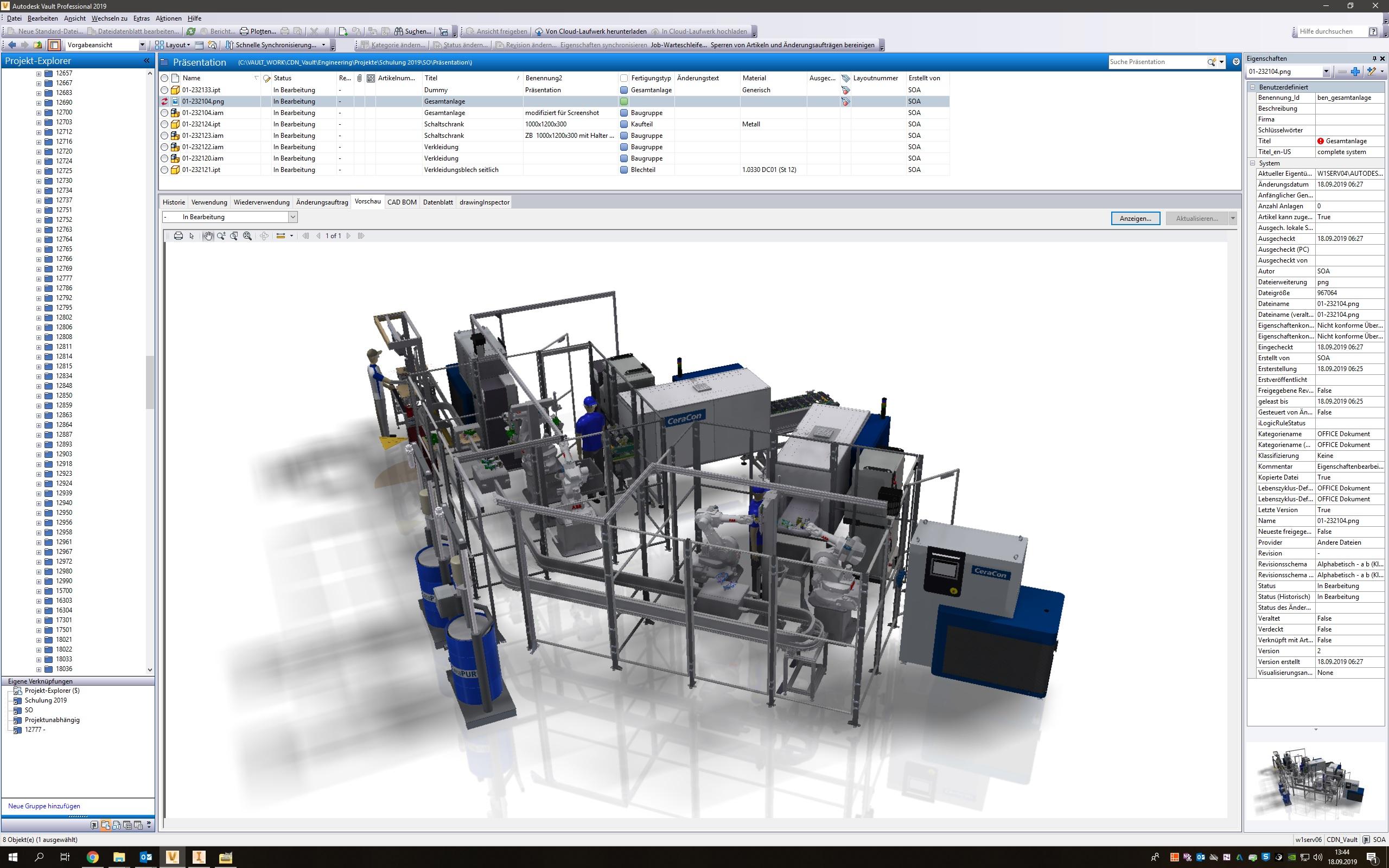 Auch Zusammenbauten komplexer Produktionsanlagen mit 7.000 Komponenten oder mehr sind in Vault einfach und effektiv zu verwalten.