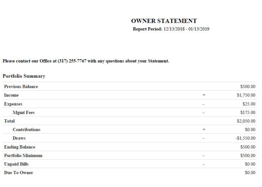 owner statement overview