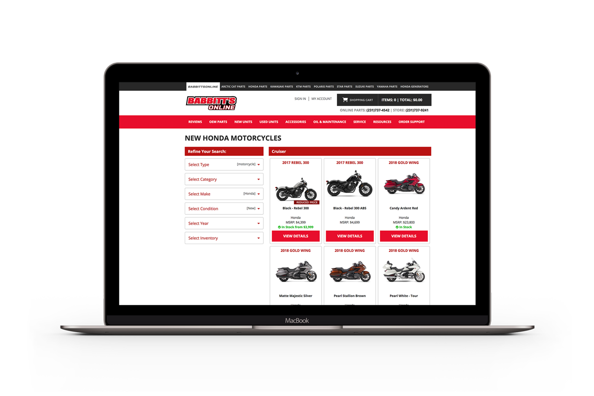 Babbitts Sports Center sells motorcycles, ATVs, and snowmobiles