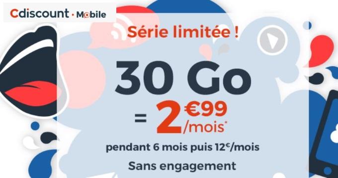Forfait pas cher : 30 Go à 2,99€/mois chez Cdiscount Mobile pour les French Days