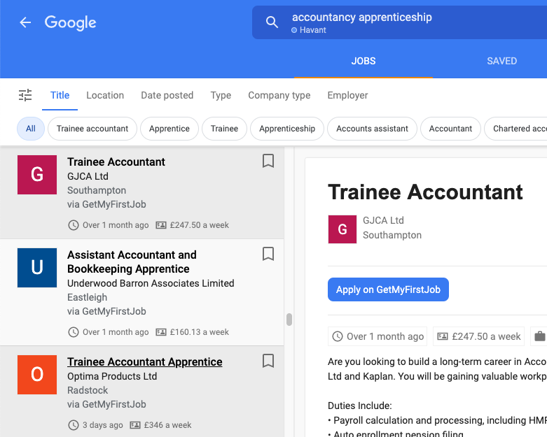 Google jobs gmfj posting